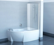 Chrome bathtub screen CVSK1 ROSA 160/170 L gloss aluminium+transparent