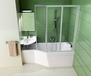 BeHappy 150x75 left-hand bathtub white with front panel