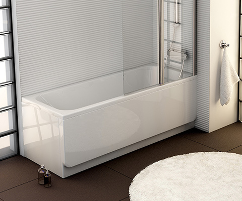 Chrome 160x70 bathtub white with front panel