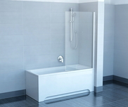 Pivot one-part fixed bathtub screen PVS1-80 satin+transparent